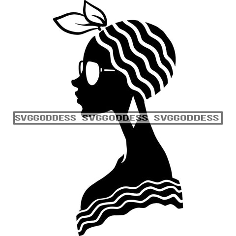 Afro Woman Silhouette  Earring Sideview Afro Hair Black Shawl Headwrap Black And White SVG JPG PNG Vector Clipart Cricut Silhouette Cut Cutting