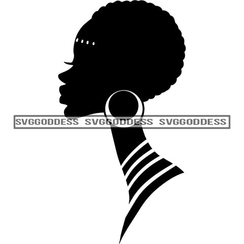 Afro Woman Silhouette African Earring Sideview Afro Hair Black Neck Black And White SVG JPG PNG Vector Clipart Cricut Silhouette Cut Cutting