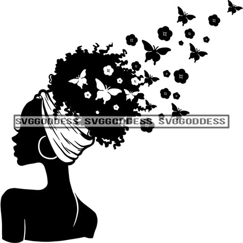 Afro Woman Silhouette Butterflies  Sideview Afro Hair Black Headwrap Black And White SVG JPG PNG Vector Clipart Cricut Silhouette Cut Cutting