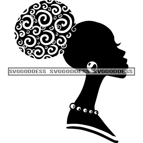 Afro Woman Silhouette Sideview Afro Hair Black Hair Swirls Bun Black And White SVG JPG PNG Vector Clipart Cricut Silhouette Cut Cutting