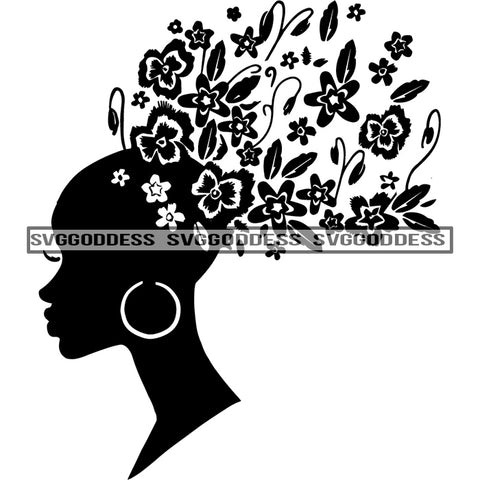 Afro Woman Silhouette Black And White Earrings Butterflies Butterfly Sideview SVG JPG PNG Vector Clipart Cricut Silhouette Cut Cutting