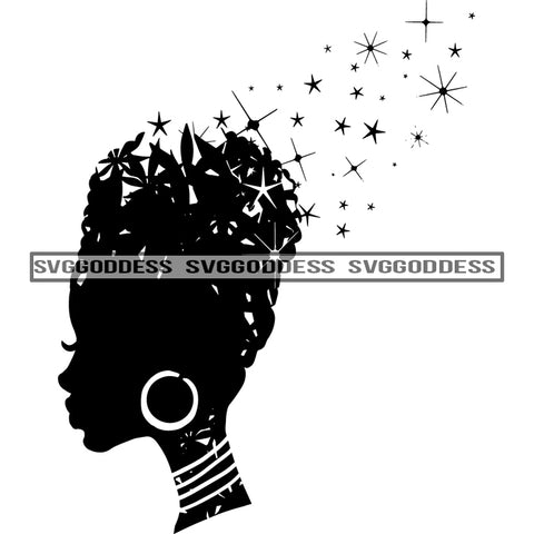 Afro Woman Silhouette Black And White Necklace Hoop Earrings Stars Sparkle SVG JPG PNG Vector Clipart Cricut Silhouette Cut Cutting