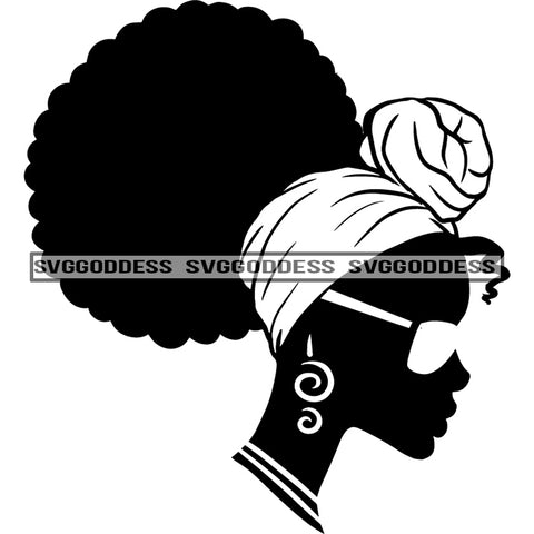 Afro Woman Silhouette Black And White Necklace Hoop Earrings Afro Hair Headwrap Sunglasses SVG JPG PNG Vector Clipart Cricut Silhouette Cut Cutting