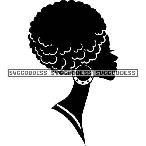 Afro Woman Silhouette Black And White Hoop Earrings Afro Hair SVG JPG PNG Vector Clipart Cricut Silhouette Cut Cutting