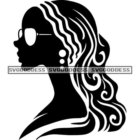 Afro Woman Silhouette Black And White Earrings Long Hair Sunglasses SVG JPG PNG Vector Clipart Cricut Silhouette Cut Cutting