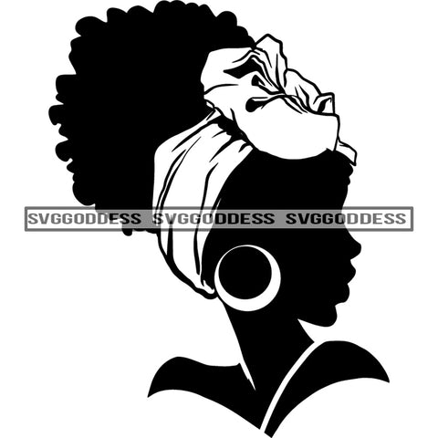 Afro Woman Silhouette Black And White Earrings Afro Hair Headwrap Sideview SVG JPG PNG Vector Clipart Cricut Silhouette Cut Cutting