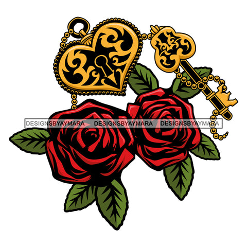 Red Roses Gold Lock And Key  SVG JPG PNG Vector Clipart Cricut Silhouette Cut Cutting