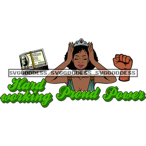 Afro Woman Hard Working Proud Power Fist SVG JPG PNG Vector Clipart Cricut Silhouette Cut Cutting