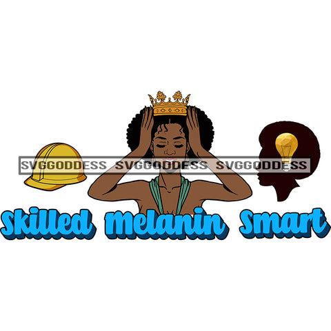 Afro Woman Talented Skilled Melanin Smart Crown Hard Hat SVG JPG PNG Vector Clipart Cricut Silhouette Cut Cutting