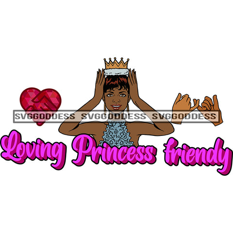 Afro Woman Loving Princess Friendly Short Hair SVG JPG PNG Vector Clipart Cricut Silhouette Cut Cutting