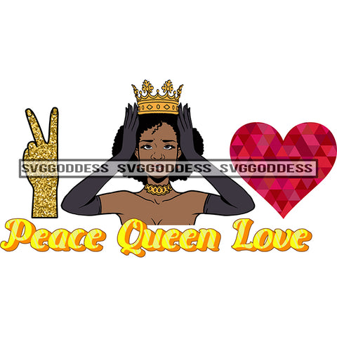 Afro Woman  Peace Queen Love Crown Peace Sign Red Heart  Long Gloves SVG JPG PNG Vector Clipart Cricut Silhouette Cut Cutting