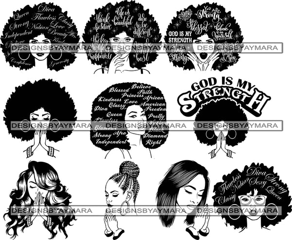 Bundle 10 Afro Beautiful Woman SVG Cutting Files For Silhouette and Cricut