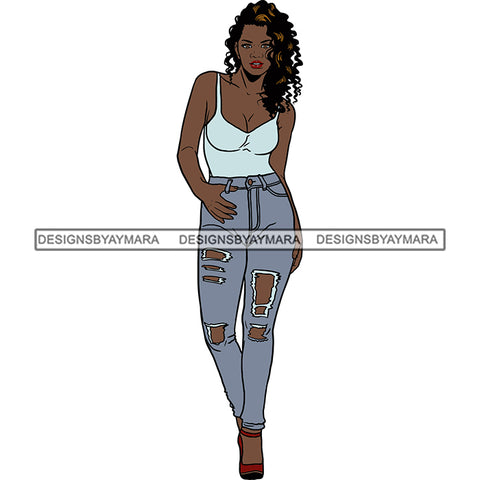 Black Woman In Jeans And Skinny Strap Tank Top Posing SVG JPG PNG Vector Clipart Cricut Silhouette Cut Cutting