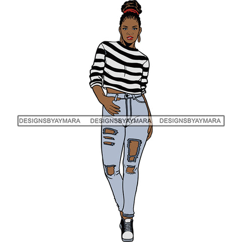 Black Woman In Black And White Stripe Top And Jeans Posing SVG JPG PNG Vector Clipart Cricut Silhouette Cut Cutting
