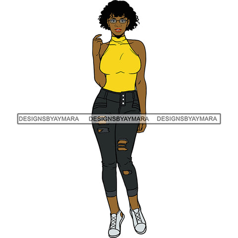 Black Woman Yellow Top And Jeans And Sneakers  Posing SVG JPG PNG Vector Clipart Cricut Silhouette Cut Cutting