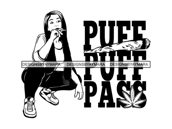 Woman Smoking Weed Smoke Smoker Marijuana Herbal Cannabis Blunt Join 420 High Life Mary Jane SVG PNG JPG EPS Vector Clipart Cutting Cut Cricut