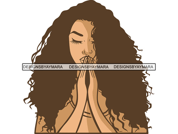 Afro Woman Praying God SVG Lord Believe Faith .PNG .JPG .SVG Clipart Perfect For Printing Not For Cutting