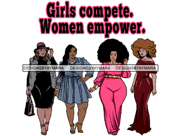 Thick Goddess Women Empower Life Quotes Freedom Nubian Melanin Afro Hairstyle Female Classy Lady .PNG .EPS .JPG Vector Clipart