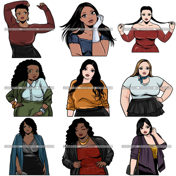 Bundle 9 Attractive BBW Nubian Melanin Popping Beautiful African American Big Woman SVG Cutting Files