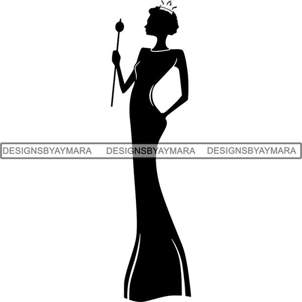 Black Afro Queen Silhouette Style SVG Cut Files