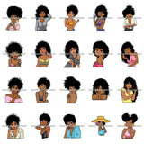 Bundle 20 Afro Cute Lady Sassy Classy Melanin Sisi .SVG Cutting Files