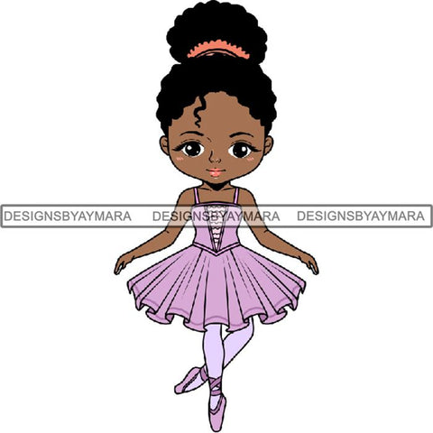 Afro Black Ballerina Baby Girl Ballet Dancer .PNG Print File Not For Cutting