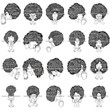 Bundle 20 Afro Strong Woman Praying Independent Proud Roots Hair Life Quotes SVG Cutting Files