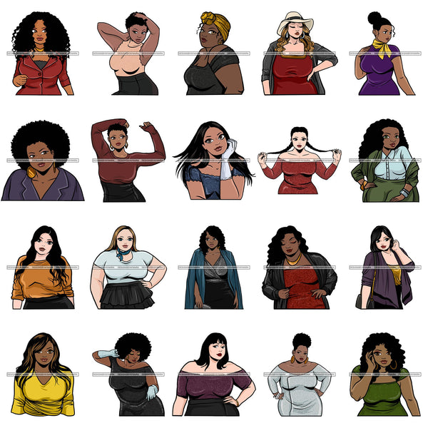 Bundle 20 Attractive BBW Nubian Melanin Popping Beautiful African American Big Woman SVG Cutting Files