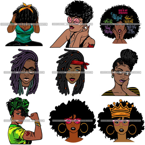 Bundle 9 Afro Boss Lady Dope Diva Glamour Hot Sellers Designs .SVG Cutting Files