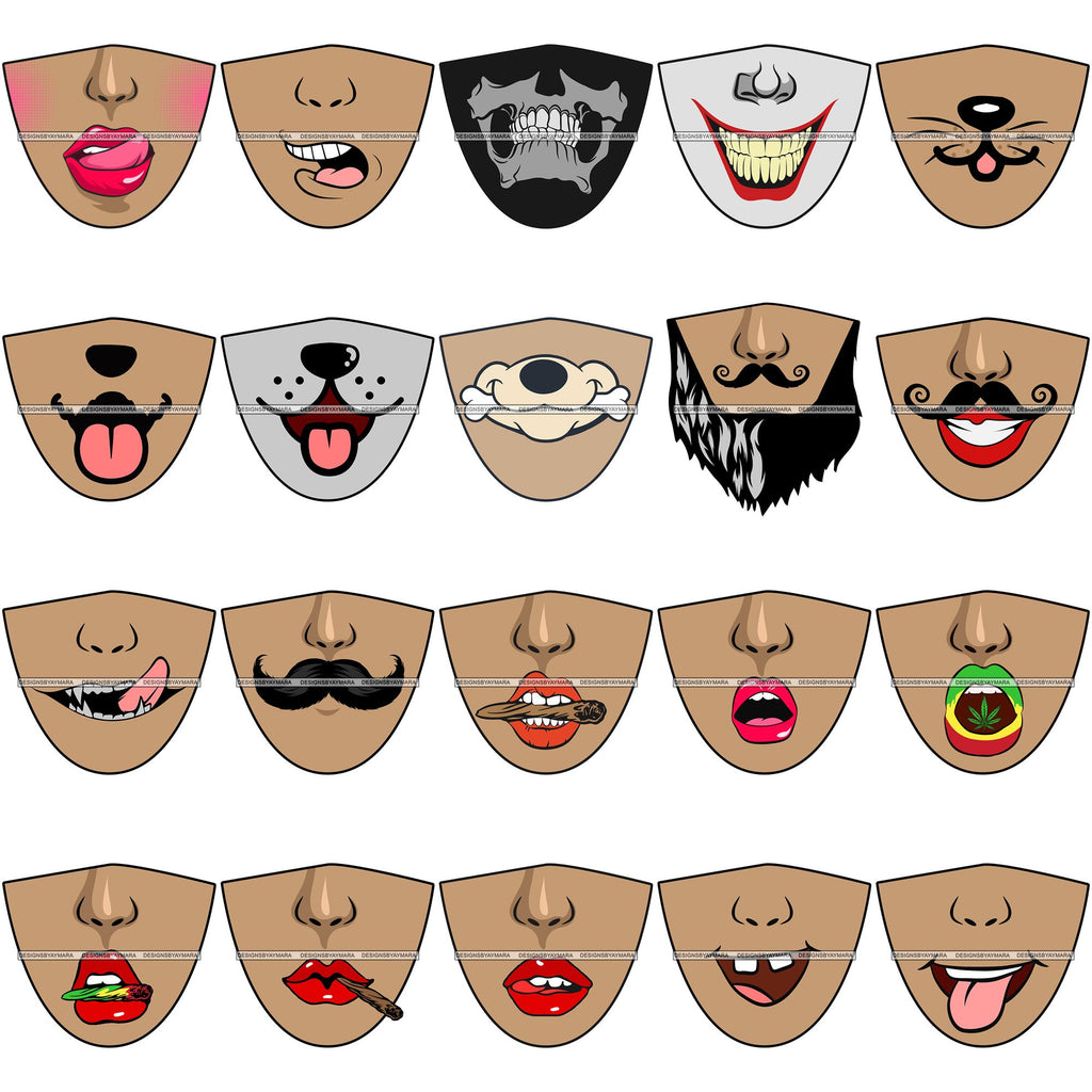 Bundle 20 Funny Half Face Cute Designs For Mask Virus Protection Svg C Designsbyaymara