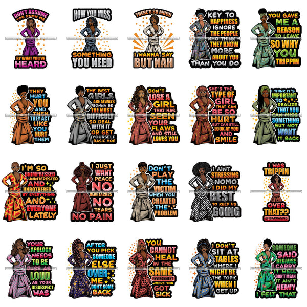 Bundle 20 Afro Lola Boss Fashion Diva Glamour Gangster Quotes .SVG Cutting Files For Silhouette and Cricut and More!