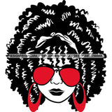 Afro Lola Boss Lady Dope Diva Glamour Wearing Glasses Accesories .SVG Cut Files