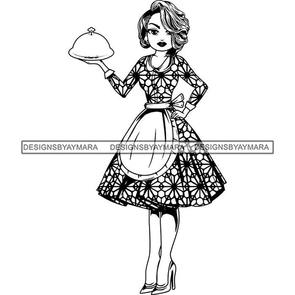 Afro Chef Lola Cooker Cooking Culinary Profession .SVG Clipart Vector Cutting Files For Circuit Silhouette Cricut and More!