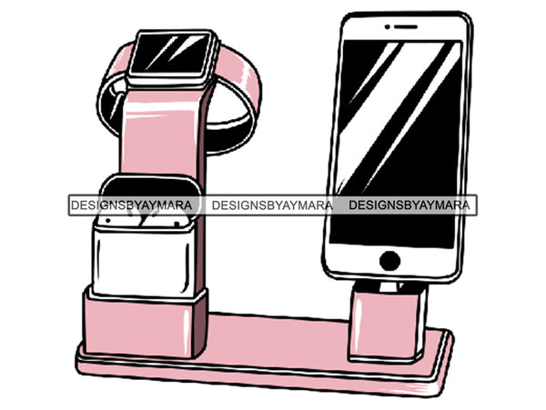 Air pods Airtight Box Electronics Headphones In-ear Intelligent Mobile Phone Wireless Technology .SVG .EPS .PNG Vector Clipart Digital Download