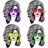 Bundle 4 Afro Lola Boss Lady Dope Diva Glamour Wearing Glasses Accesories .SVG Cut Files