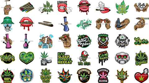 Bundle 40 Marijuana Cannabis Hashish Weed Leaf Grass Dope 420 Hemp Pot Joint Blunt Stoned High Life SVG Cutting Files