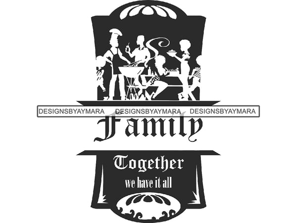 Family Barbecue Dinner Meal Gathering Event Cooking Grilling Party Celebration Reunion Together .PNG .SVG Clipart Vector Cricut Cut Cutting