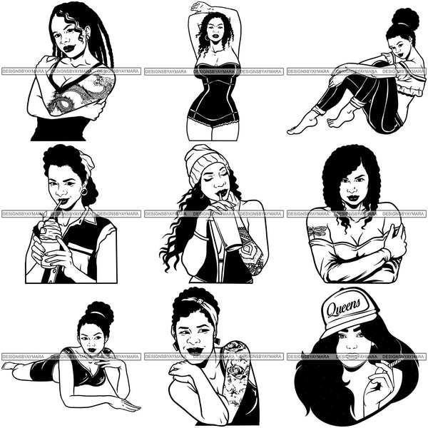 Bundle 9 Afro Sexy Goddess Melanin Woman Queen Tattoo SVG Cut Files For Silhouette and Cricut