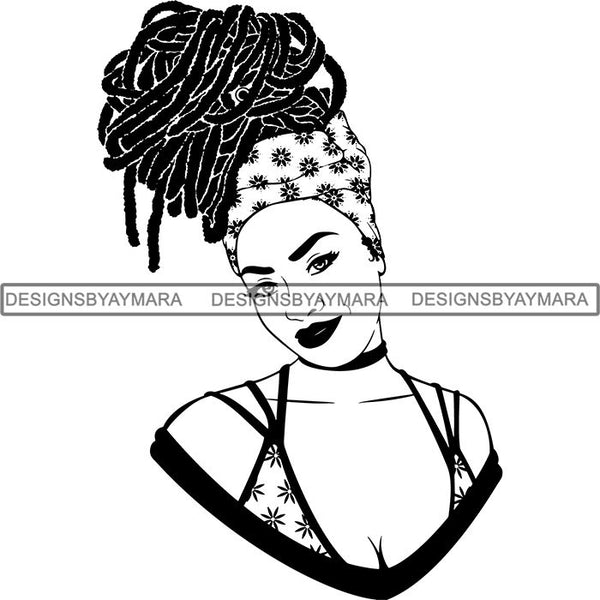 Afro Beautiful Woman Goddess Diva Classy Lady Braids Dreads Hairstyle  .SVG Cut Files For Silhouette and Cricut