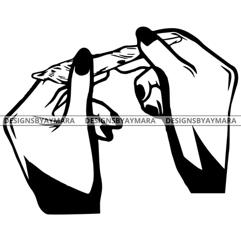Hands Rolling A Joint In BW Outline SVG JPG PNG Vector Clipart Cricut Silhouette Cut Cutting