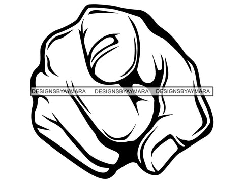 Hand Point You Finger Index Arm Fist Pointing Punch Knuckle Self Forward Direction Design Symbol .PNG .SVG Clipart Vector Cricut Cut Cutting