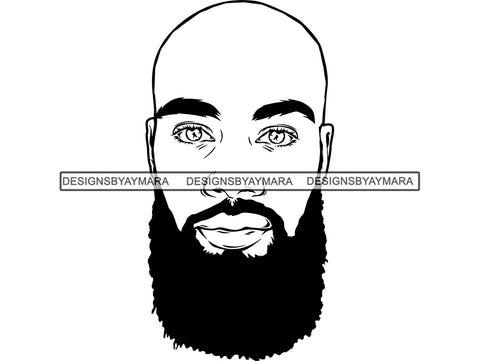 Black Man African Model Confidence Bald Beard Power Male Attractive Strength Men Power Fit Build Healthy .SVG .EPS .PNG Vector Clipart Digital Download Circuit Cut Cutting