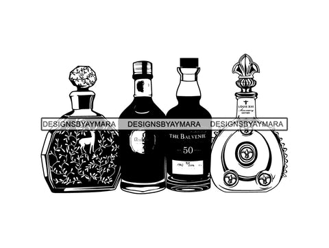 Louis Black Pearl Alcohol Cognac Bottle Box Glass Bourbon Drink Beverage Expensive Liquor Brandy .PNG .SVG Clipart Vector Cricut Cut Cutting