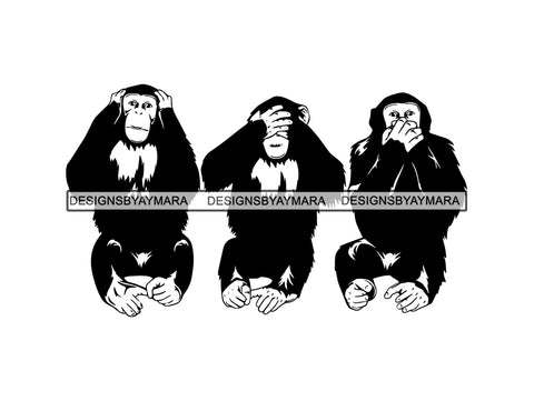 Monkey See Hear Talk Ear Eye Mouth Ape Chimp Chimpanzee Design Art Vector Symbol Primate Gesture .PNG .SVG Clipart Vector Cricut Cut Cutting