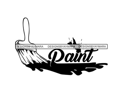 Paint Brush Splatter Text Design Logo Vector Concept Stroke Painting Tool Bristle Streak Drip Art  .SVG .EPS .PNG Vector Space Clipart Digital Download Circuit Cut Cutting