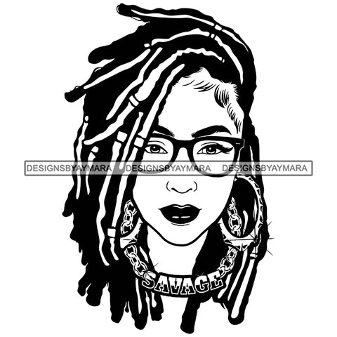 Afro Attractive Cute Urban Girl Savage Gold Chain Glasses Hoop Earrings Dreadlocks Hairstyle B/W SVG Cutting Files Silhouette Cricut