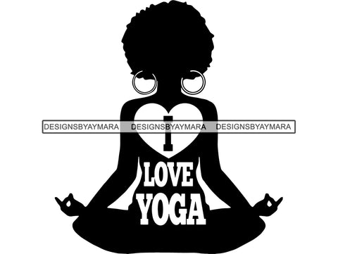 Woman Yoga Pose Meditation Love Text Silhouette Afro Fro African Instructor Vector Design Symbol  .SVG .EPS .PNG Vector Space Clipart Digital Download Circuit Cut Cutting