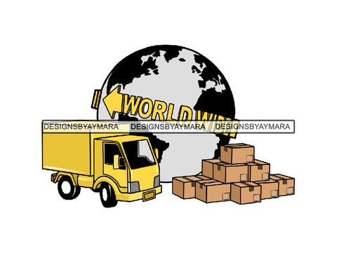 Shipping World Wide Truck And Boxes Graphics SVG JPG PNG Vector Clipart Cricut Silhouette Cut Cutting