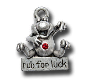 Rub for Luck with Crystal  KEYRING - Wear Me Out!, Antiqued Silver Plated Pewter Lucky Frog Charm - dog charms, WMO! - Wear Me Out!, Wear Me Out! - mydoglulu