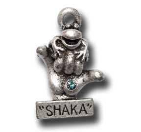 """Shaka"" with Crystal  KEYRING - Wear Me Out!, Antiqued Silver Plated Pewter Lucky Frog Charm - dog charms, WMO! - Wear Me Out!, Wear Me Out! - mydoglulu"